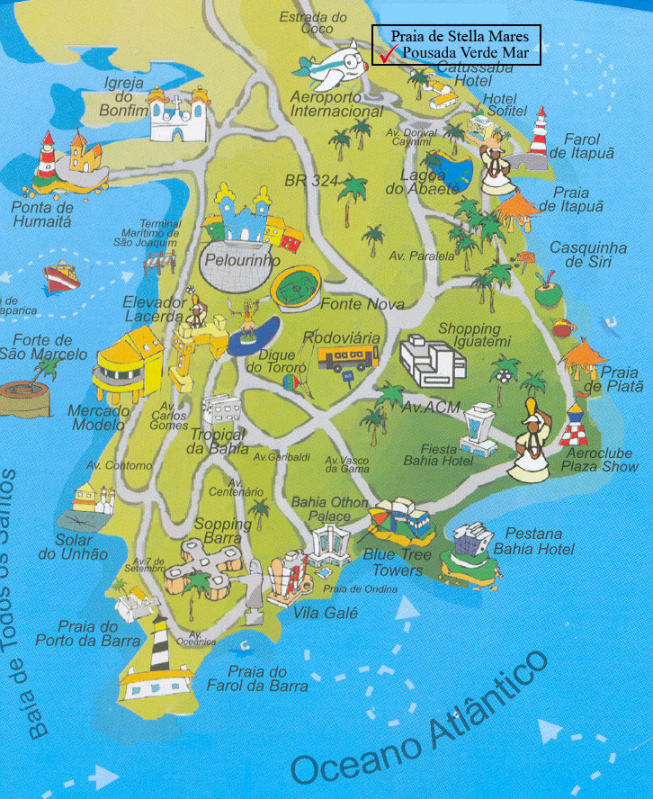 Map Beaches of Salvador de Bahia