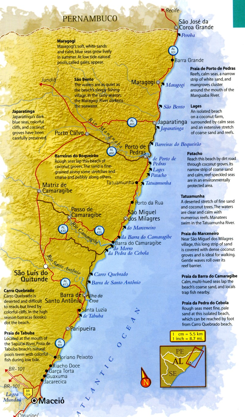Map of Alagoas North Coast