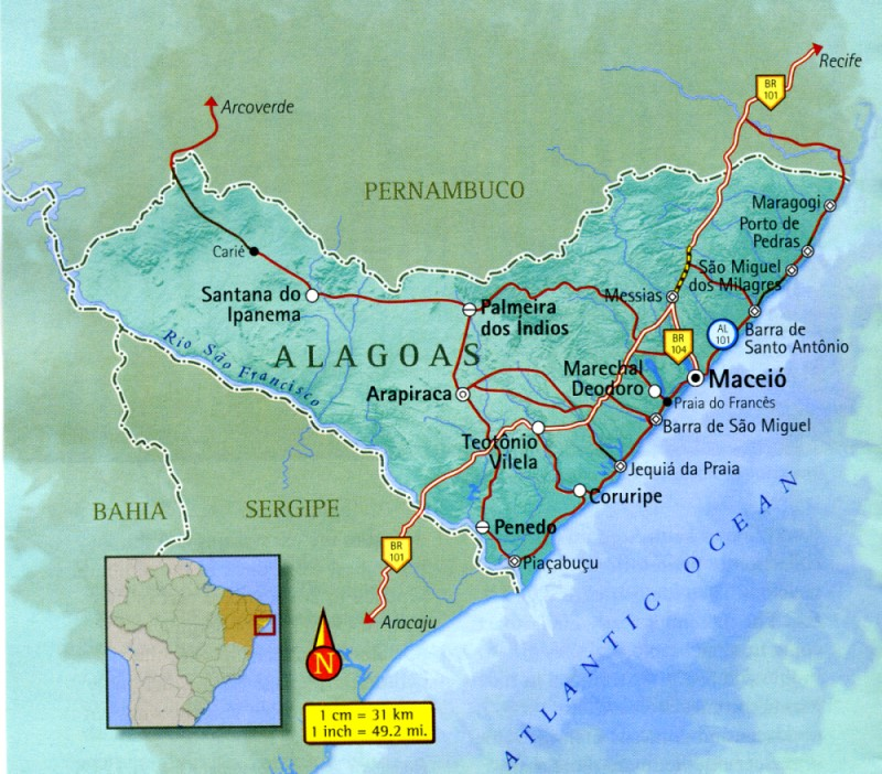 Map of Alagoas in Brazil