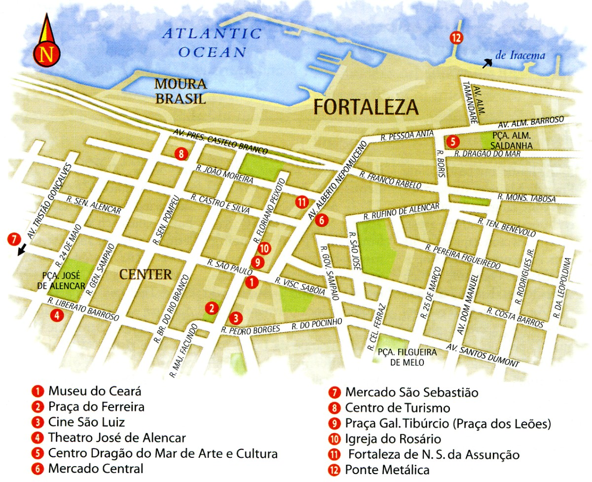 Map of Fortaleza Center in Ceara