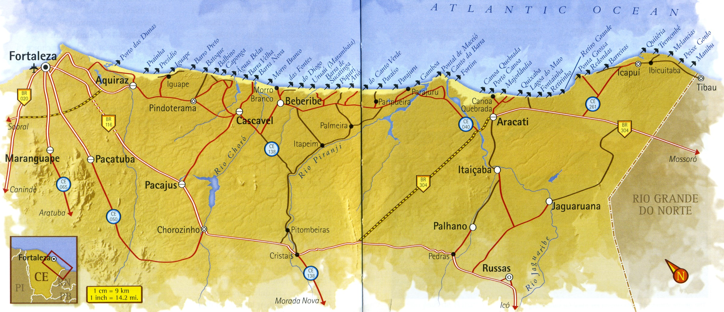 Map of the Ceará East Coast in Brazil