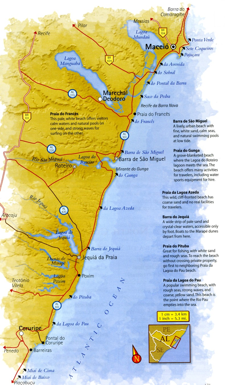 Map of the South Coast of Alagoas