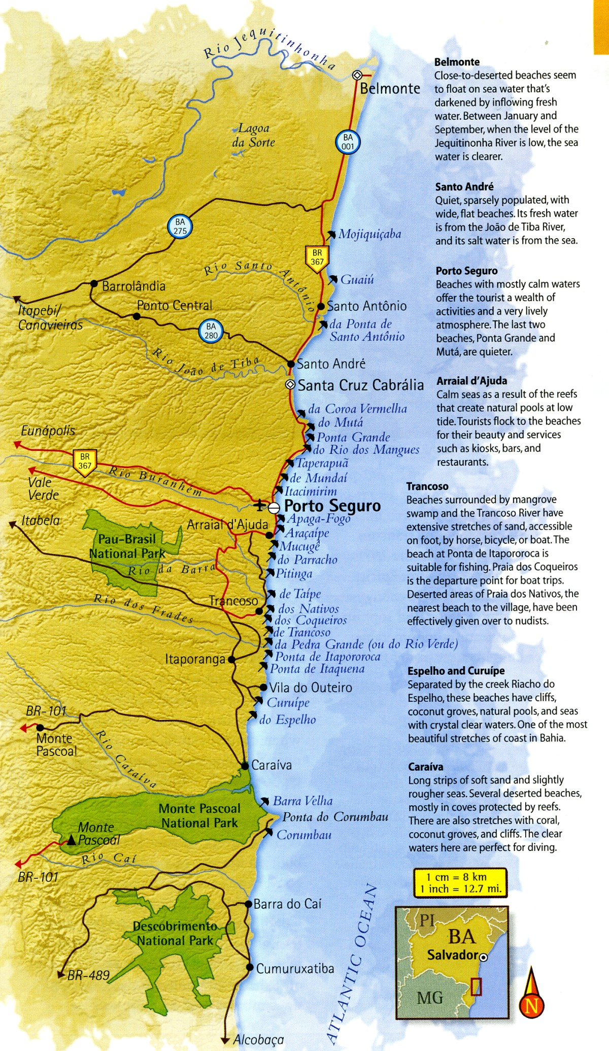 map of Discovery Coast in Bahia